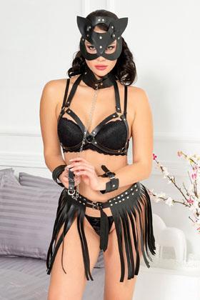 MiteLove Mite Love Pusy Cad Maskeli Siyah Deri Kadın Kostüm