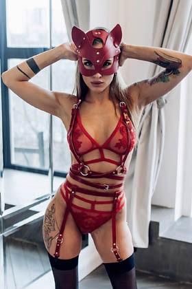 MiteLove Mite Love Pusy Cad Maskeli Harness Jartiyer Takım