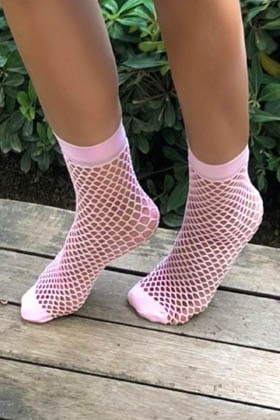 MiteLove Mite Love Şeker Pembe File Soket Çorap