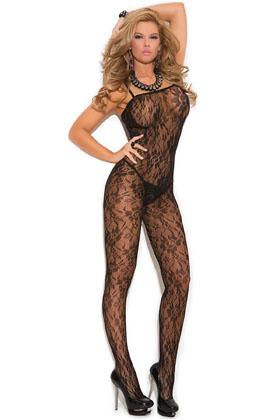 MiteLove Mite Love Gül Desenli Fantazi Vücut Çorabı Siyah